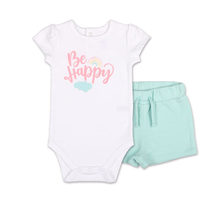 Koala Baby Pastel Rainbow Be Happy Bodysuit/Shorts 2 Piece Set, 12 Month