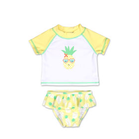 Koala Baby 2Pc Short Sleeve Rash Guard Set Yellow Pineapple, 12 Months