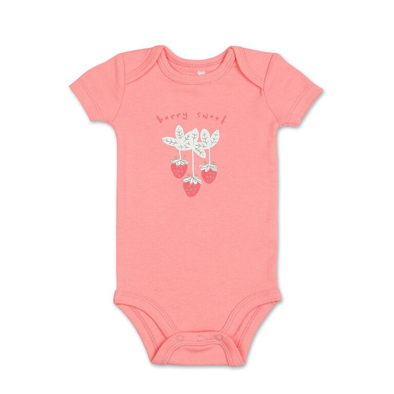 Koala Baby 4Pk Short Sleeved Bodysuit, G Strawberries, Preemie