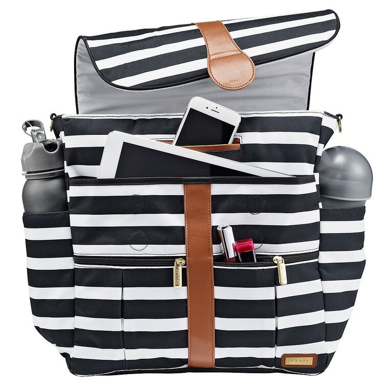 JJ Cole Backpack Black and White Stripe Baby Diaper Bag