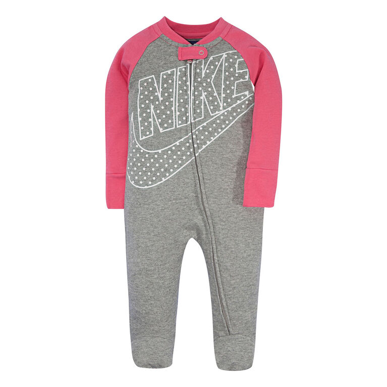 Nike footed Coverall - Pink, 0-3 newborn