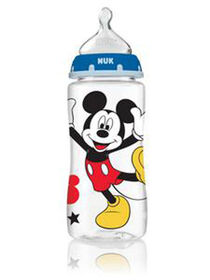 NUK Orthodontic Bottles, 10 oz., Medium Flow, 3-Pack - Mickey Mouse and Minnie Mouse