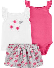 Ensemble 3 pièces couvre-couche à flamant Carter's – rose/blanc, nouveau-né