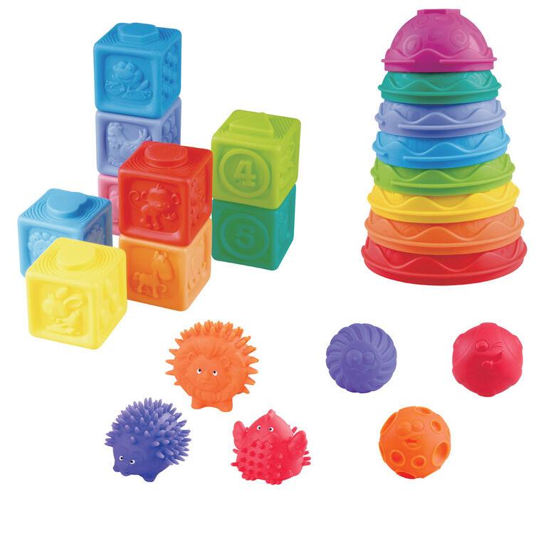 Imaginarium Baby - Coffret Compagnons mous, blocs et formes à empiler