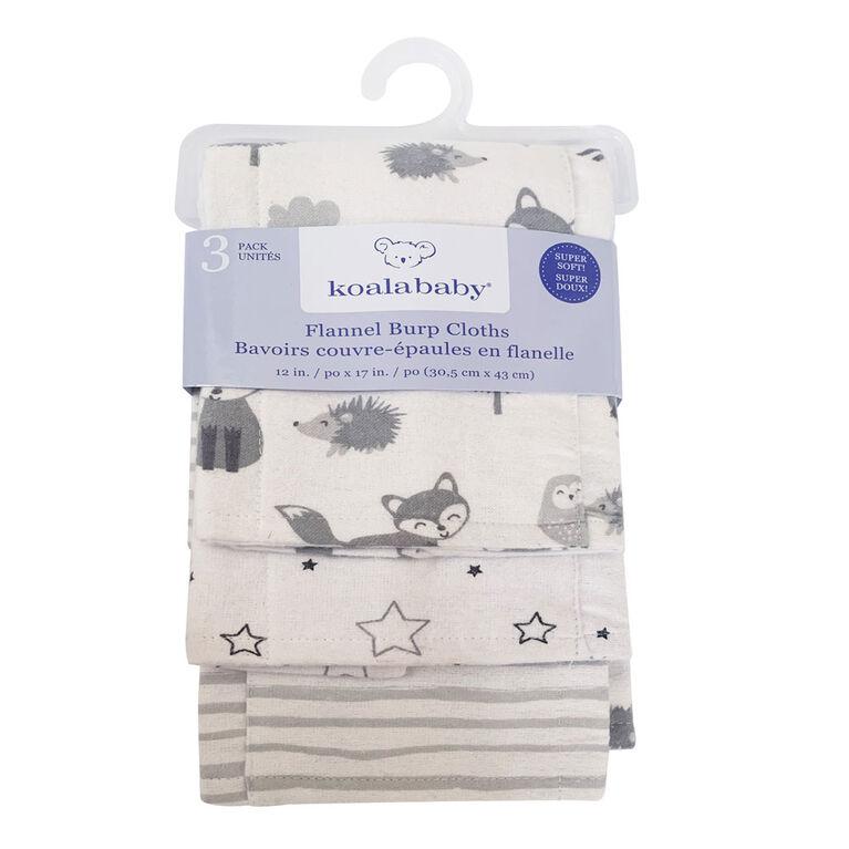 Koala Baby - Gris Pack De 3 Flanelle Burp