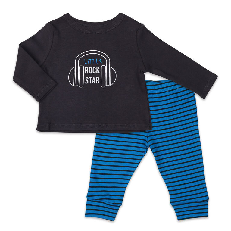 Koala Baby Let's Play Long Sleeve Shirt and Pants Set, Little Rock Star - Newborn