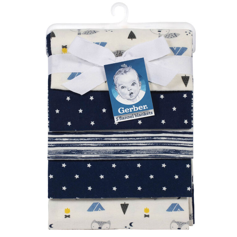 Gerber  5-Pack Receiving Blankets - Fox