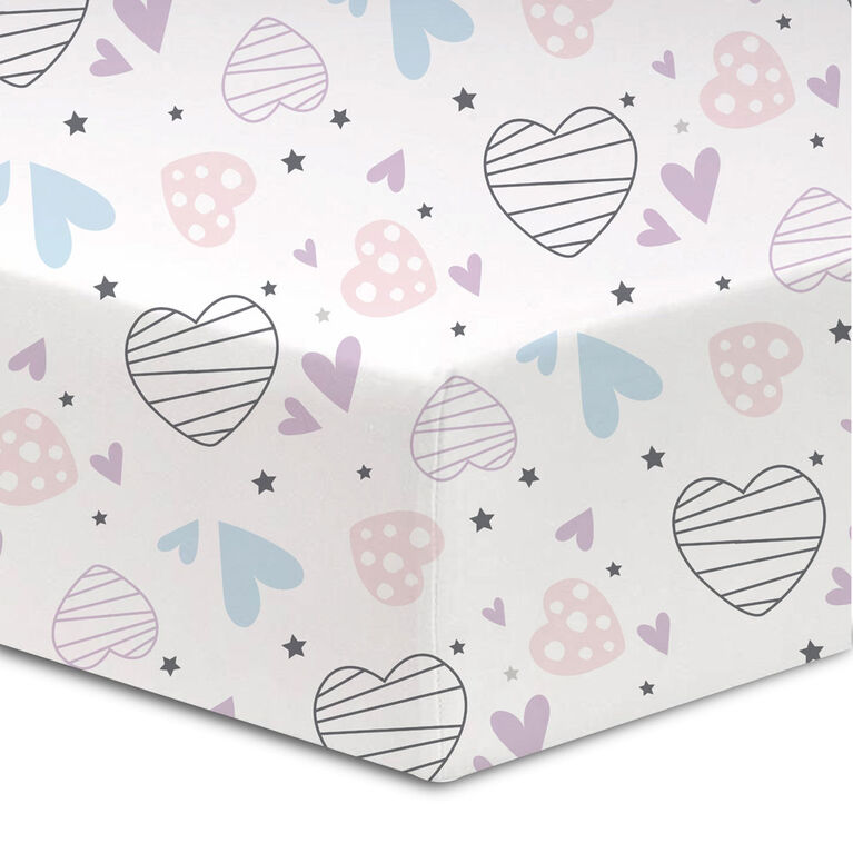 Koala Baby - Flannel 1 Pack Scattered Hearts Crib Sheet