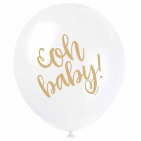 """Oh Baby"" 12"" Latex Balloons 8 pieces - English Edition"