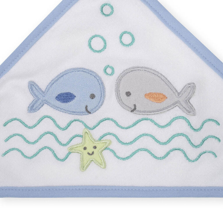 Koala Baby 2-Pack Hooded Towel & 4-Pack Washcoth Set, Blue Whales