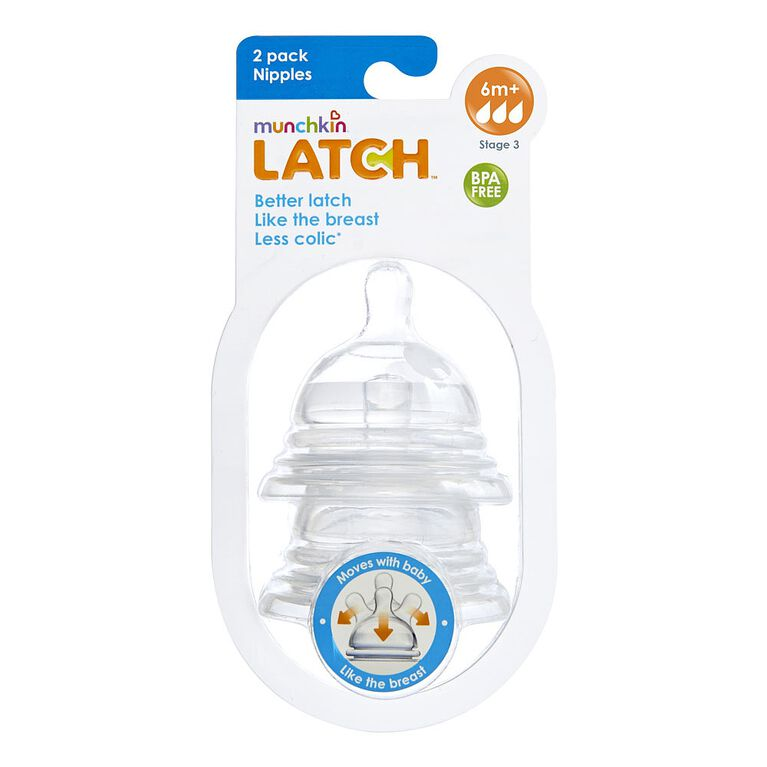 Munchkin - LATCH Stage 3 Nipple for 6+ Months, 2-Pack