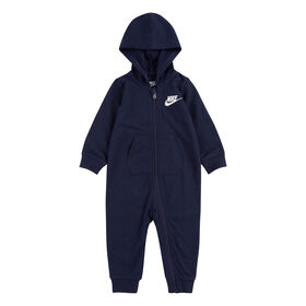 Nike French Terry Coverall - Navy blue, Size 24 Months