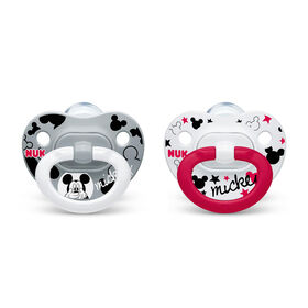 NUK Orthodontic Pacifiers, 0-6 Months, 2-Pack - Mickey Mouse and Minnie Mouse