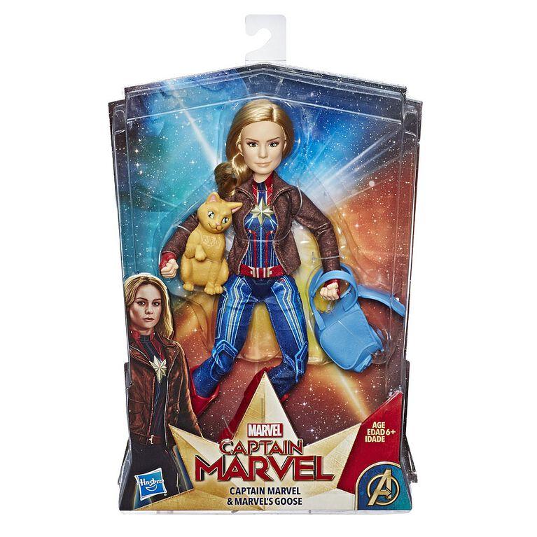 Marvel Captain Marvel - Poupée de superhéroïne Capitaine Marvel avec le chat Marvel's Goose.