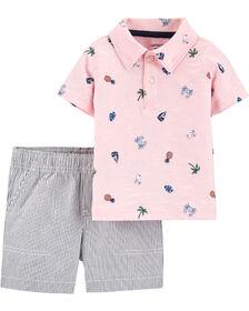 Carter's 2-Piece Beach Polo & Striped Short Set - Pink/Blue, 3 Months