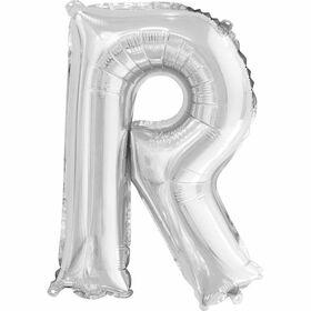 """Ballons en forme de lettre en argent 14 """" - R"""