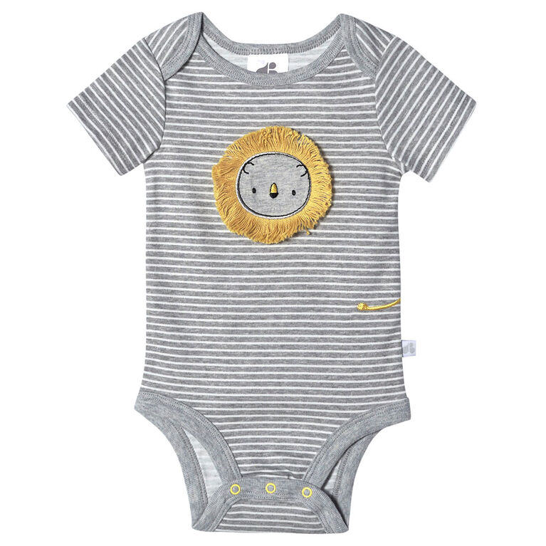 Just Born Baby Boys 4-Pack Organic Short Sleeve Onesies Bodysuits - Lil Lion 0-3 Months