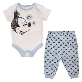 Disney Mickey Mouse ensemble panatalon 2 pièces - Bleu, Nouveau née.