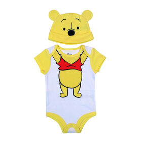 Disney Winnie the Pooh Bodysuit with Hat - Yellow, 9 Months