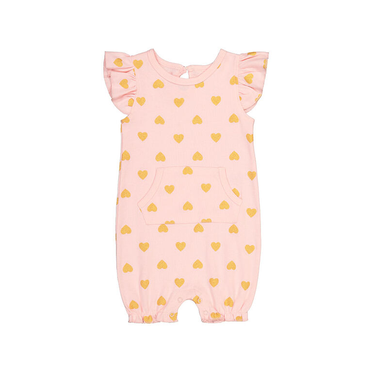 Snugabye Girls - Romper W/Ruffle Sleeves & Kanga Pocket - Hearts Pink/Gold 6-9 Months