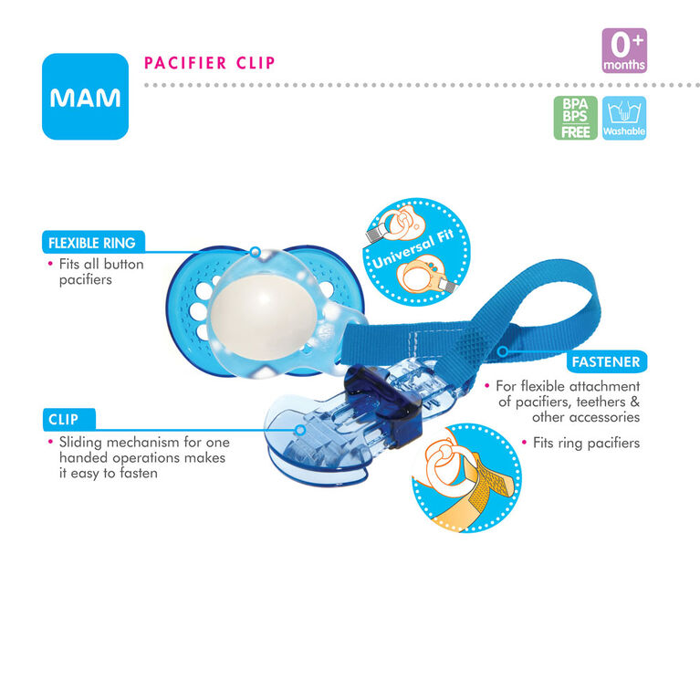 MAM Pearl 6+ Pacifier and Clip Set - Blue