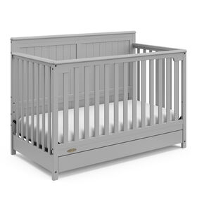 Graco Hadley 4-in-1 Convertible Crib with Drawer - Pebble Grey.
