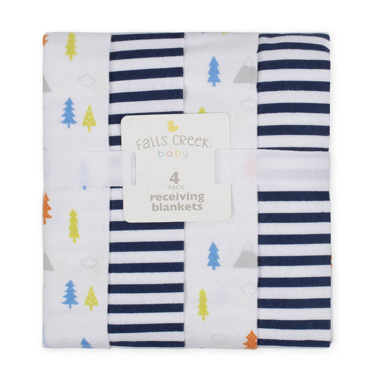 Fall's Creek  4Pk Receiving Blankets - Trees & Stripes - English Edition