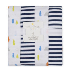 Fall's Creek  4Pk Receiving Blankets - Trees & Stripes - English Edition