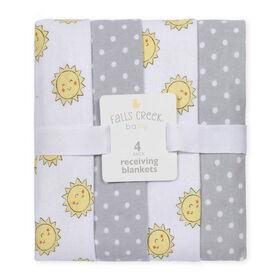 Fall's Creek  4Pk Receiving Blankets - Sun & Dots - English Edition