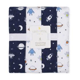 Emballage de 4 couvertures de flanelle de Falls Creek  - roquettes et lune - Édition anglaise