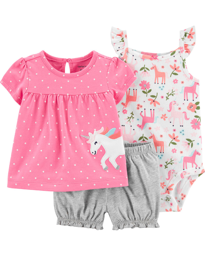 Carter S 3 Piece Unicorn Diaper Cover Set Pink Grey 24