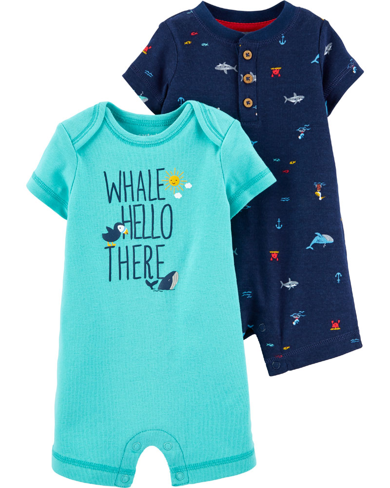 Carter S 2 Pack Whale Amp Shark Rompers Navy Turquoise 3