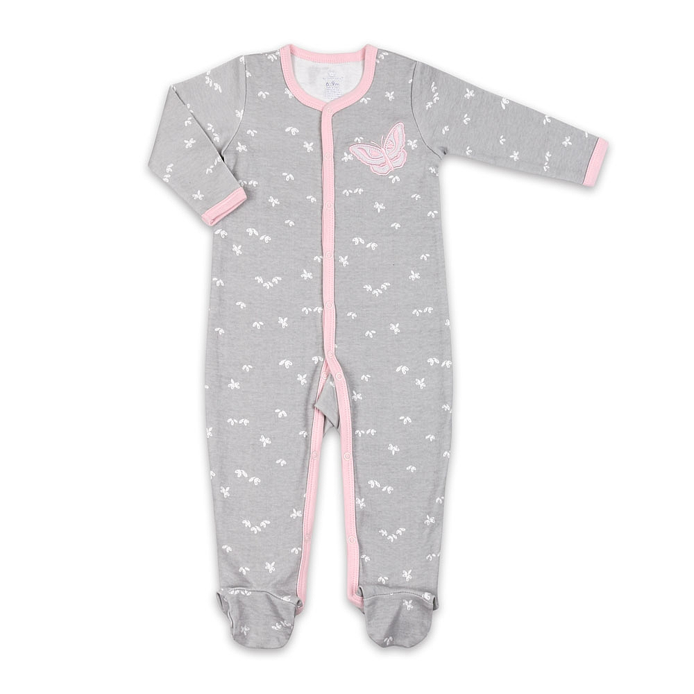 Koala Baby Cotton Sleeper Grey W Pink Butterfly 6 9