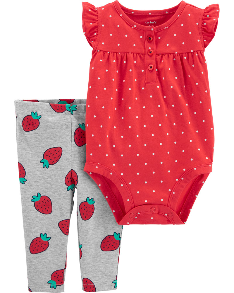 Carter S 2 Piece Strawberry Bodysuit Pant Set Red Grey