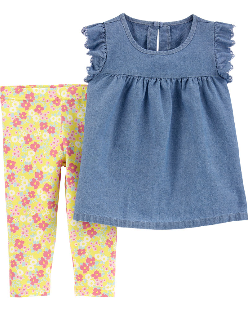 Carter S 2 Piece Chambray Top Amp Floral Legging Set Blue