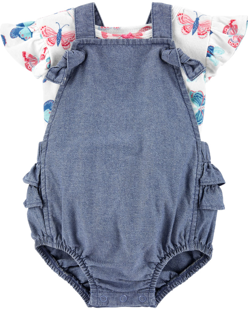 Carter S 2 Piece Butterfly Tee Amp Chambray Shortall Set