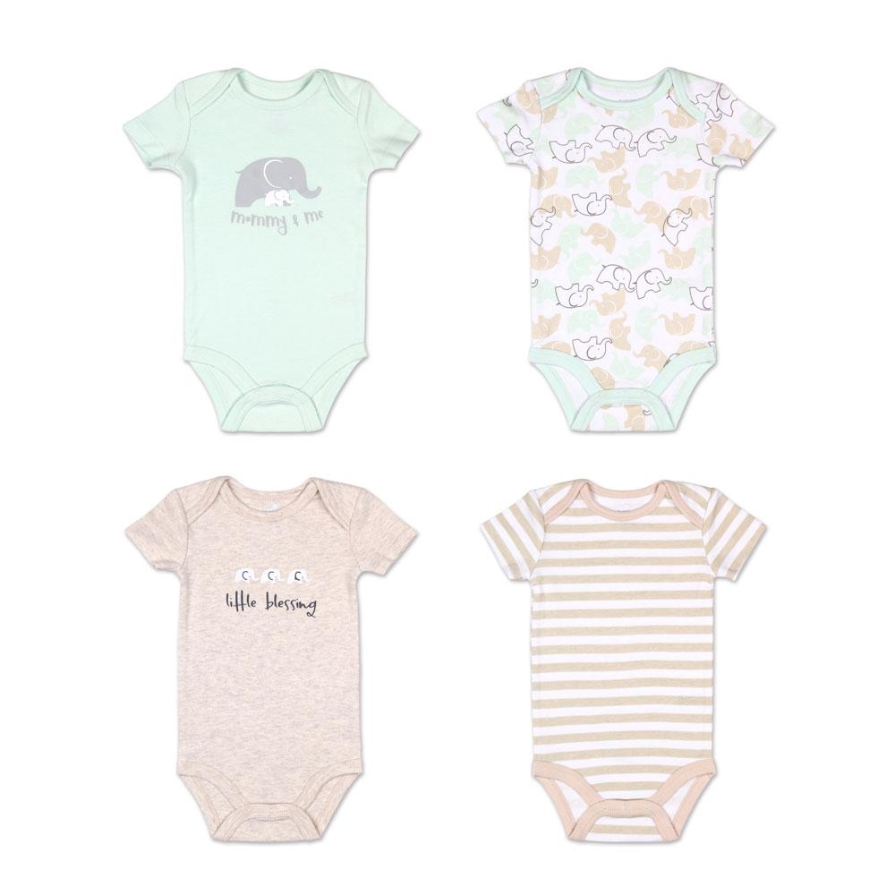 Koala Baby 4 Pack Short Sleeved Bodysuit Elephant 12 18