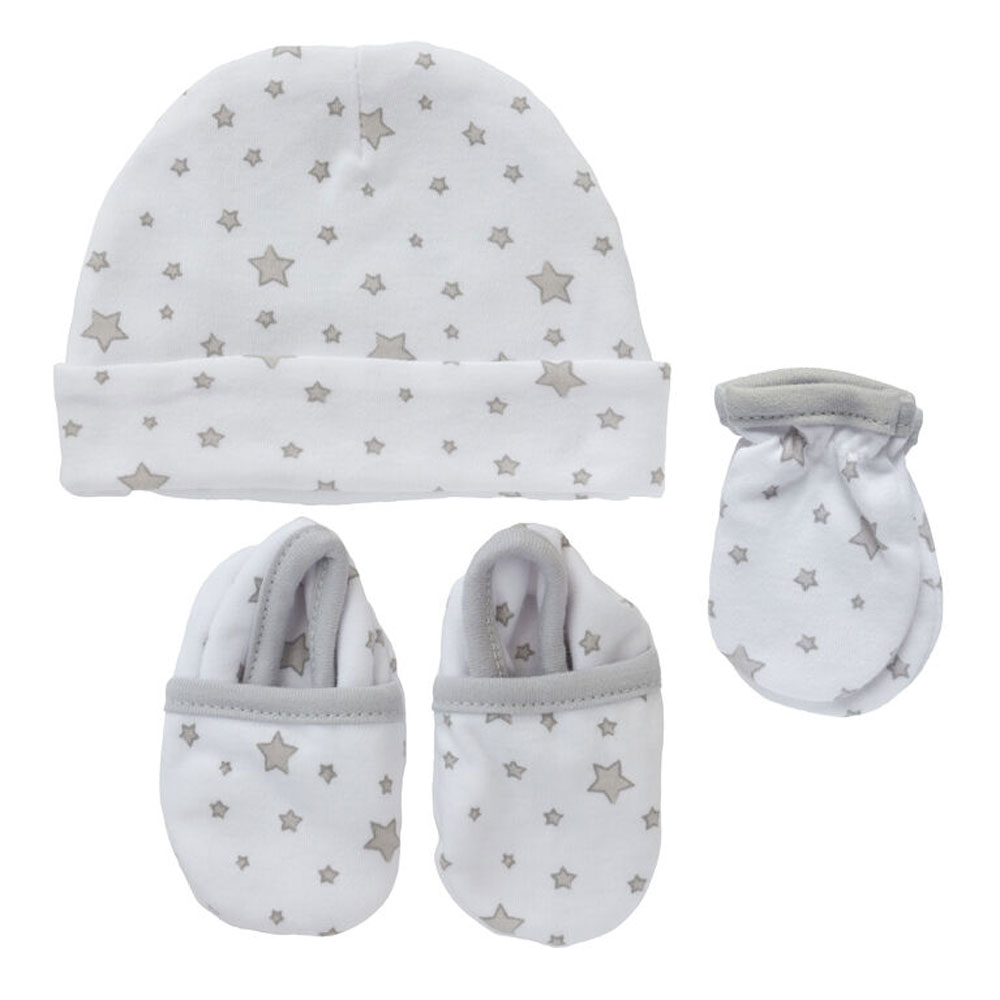 Koala Baby 3 Pack Set Hat Mittens Booties Grey Stars
