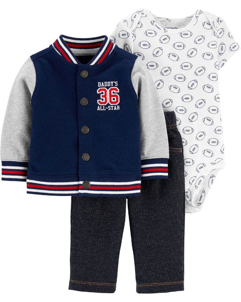Carter S 3 Piece Varsity Cardigan Set Navy 18 Months