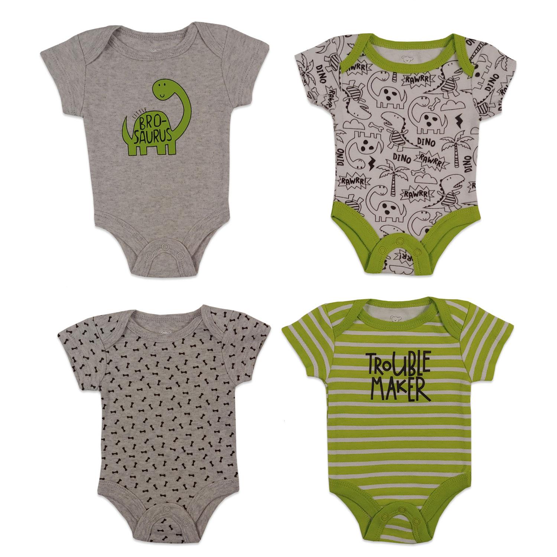 Koala Baby 4 Pack S Size: Preemie White // Blue Dinosaur Sleeves Bodysuits