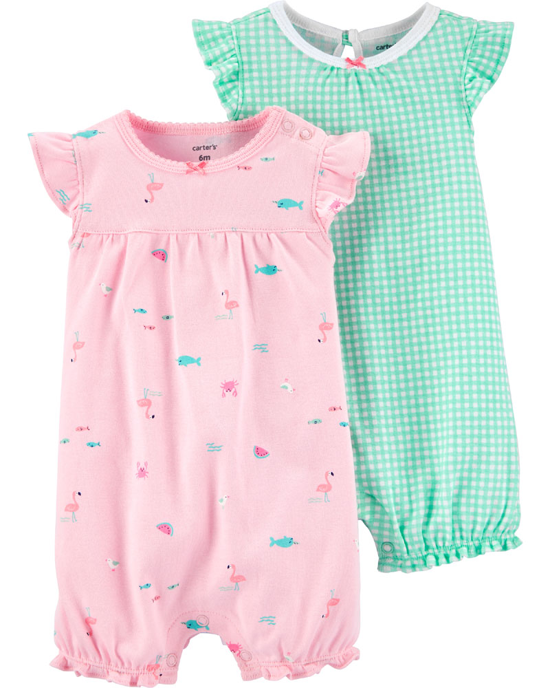 Carter S 2 Pack Checkered Amp Flamingo Rompers Mint Pink
